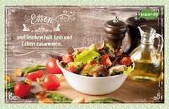 Kräuter-Dip-Postkarte - Essen und Trinken hält Leib und Leben zusammen.